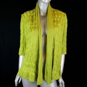 St. John Cardigan Chartreuse Green Open Sweater